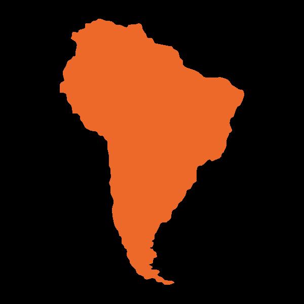 Mappa stilizzata di Sud America