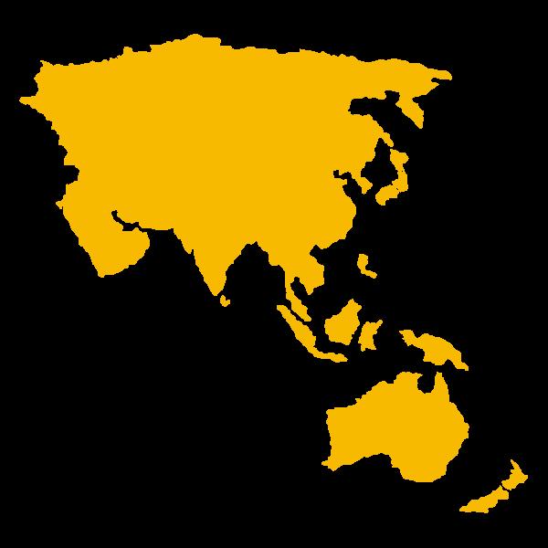 Mappa stilizzata di Asia e oceania