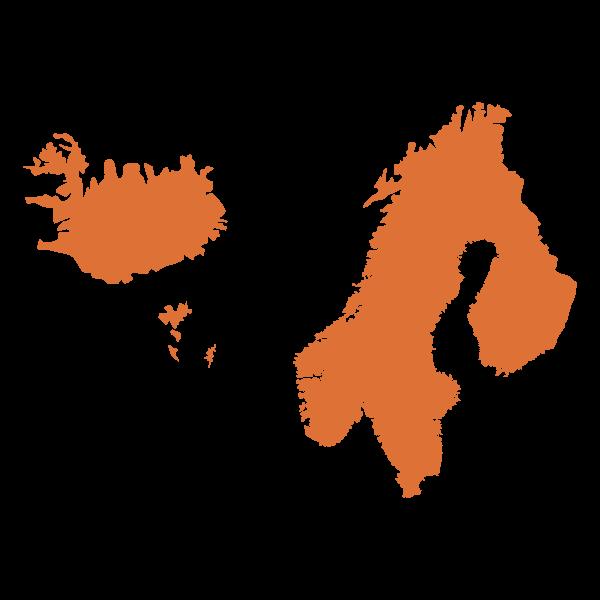 Mappa stilizzata di Nord Europa