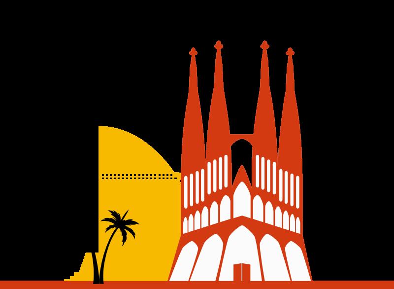 Grafica di barcellona con Sagrada Familia