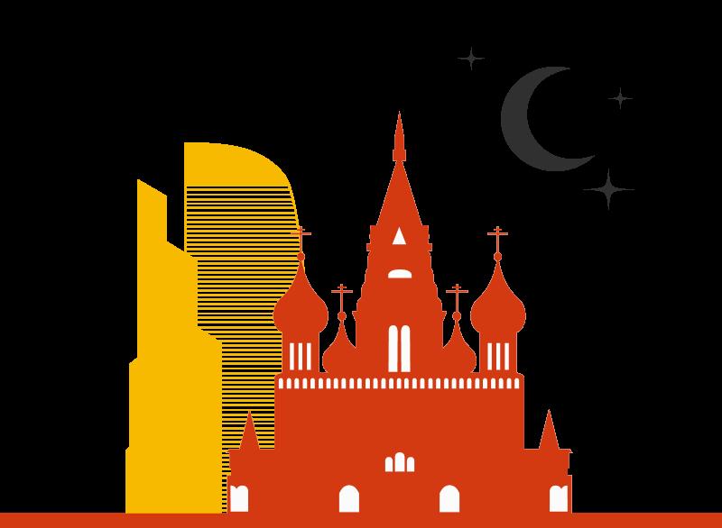 Grafica di Mosca con San Basilio