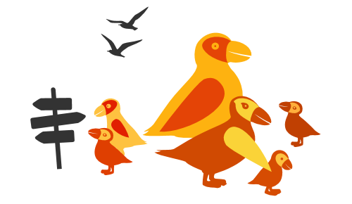 Icona di pulcinelle di mare come piccolo gruppo familiare