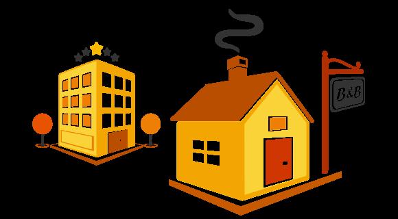 Grafica con piccola pensione e grande hotel di lusso