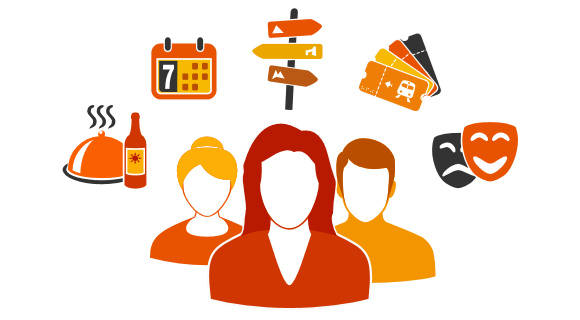 Grafica con busto di operatori e icone di servizi vari intorno